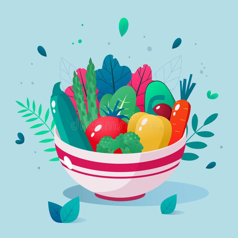 Bowl full of vegetables vector illustration. Healthy lifestyle concept. Healthy eating. Bowl full of vegetables vector illustration. Healthy lifestyle concept stock illustration