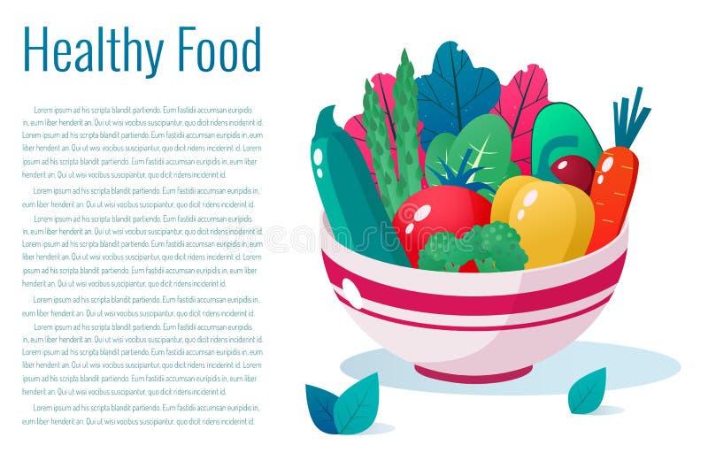 Bowl full of vegetables  illustration. Healthy lifestyle concept. Healthy eating. Bowl full of vegetables  illustration. Healthy lifestyle concept vector illustration