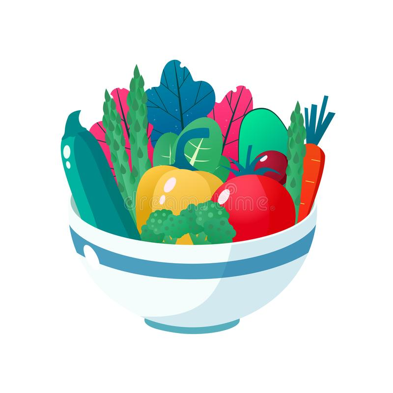 Bowl full of vegetables vector illustration. Healthy lifestyle concept. Healthy eating. Bowl full of vegetables vector illustration. Healthy lifestyle concept royalty free illustration