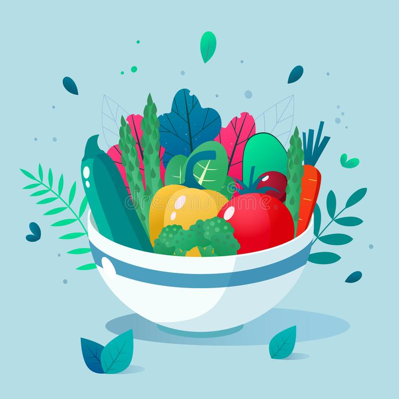 Bowl full of vegetables vector illustration. Healthy lifestyle concept. Healthy eating. Bowl full of vegetables vector illustration. Healthy lifestyle concept vector illustration