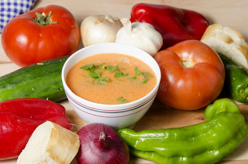 Bowl of gazpacho stock photo
