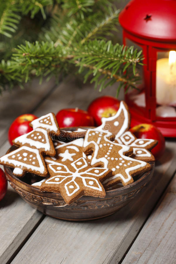 Bowl Of Gingerbread Cookies On Rustic Grey Wooden Table Stock Photo