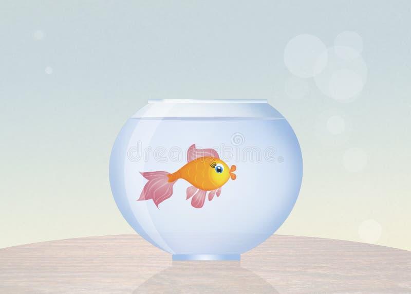 Bowl with goldfish. Illustration of bowl with goldfish stock illustration