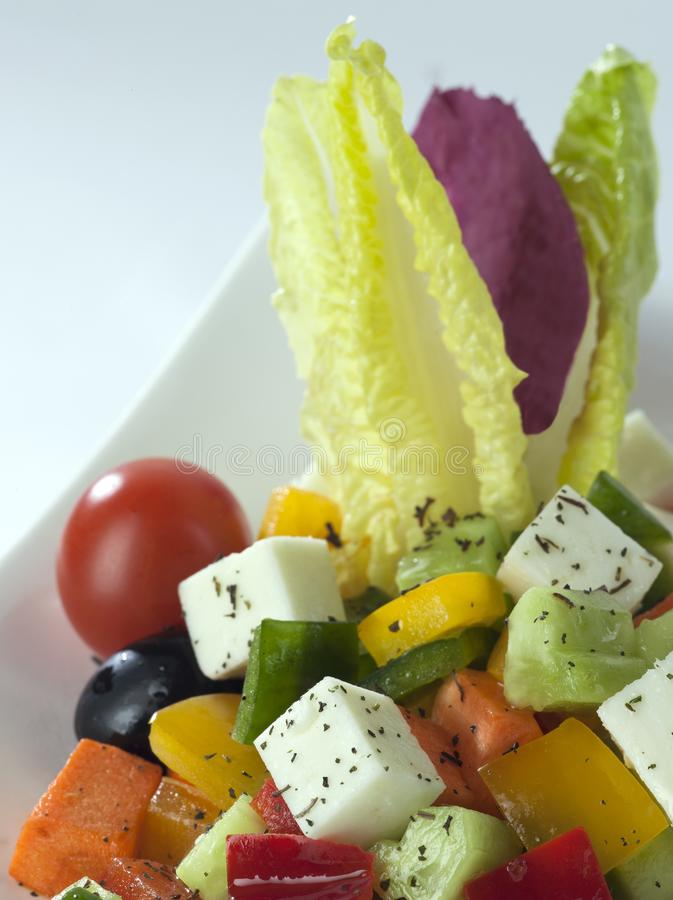 A bowl of Greek Salad close up stock photo