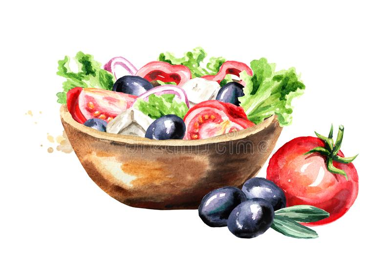 Bowl with Greek salad with fresh vegetables and feta cheese. Watercolor hand drawn illustration, isolated on white background. stock illustration