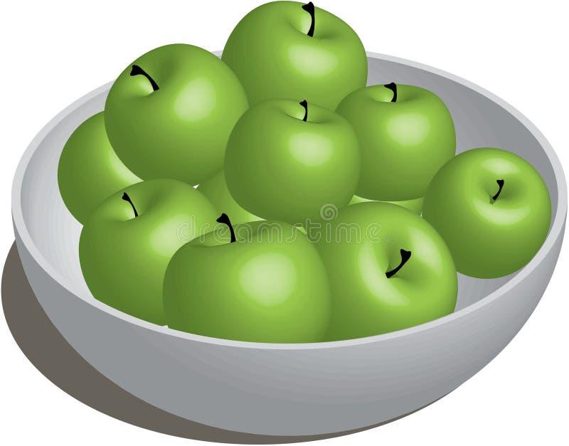 Bowl of Green Apples royalty free illustration