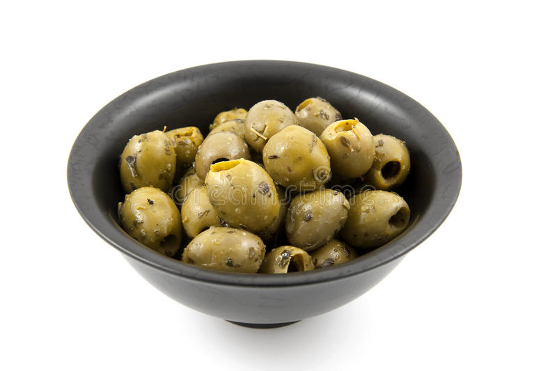 Bowl with green olives royalty free stock photo