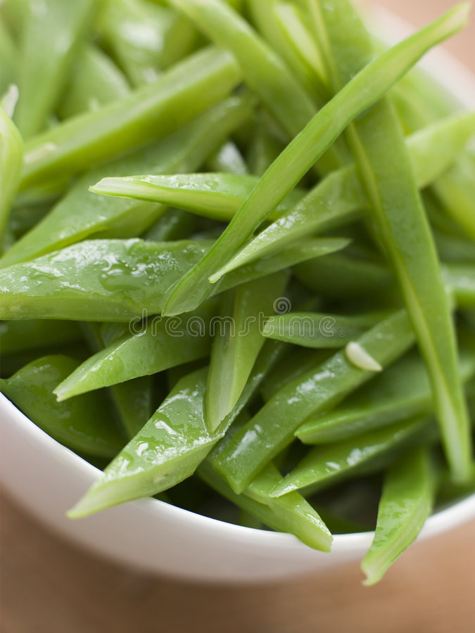 Bowl of Green Runner Beans royalty free stock image