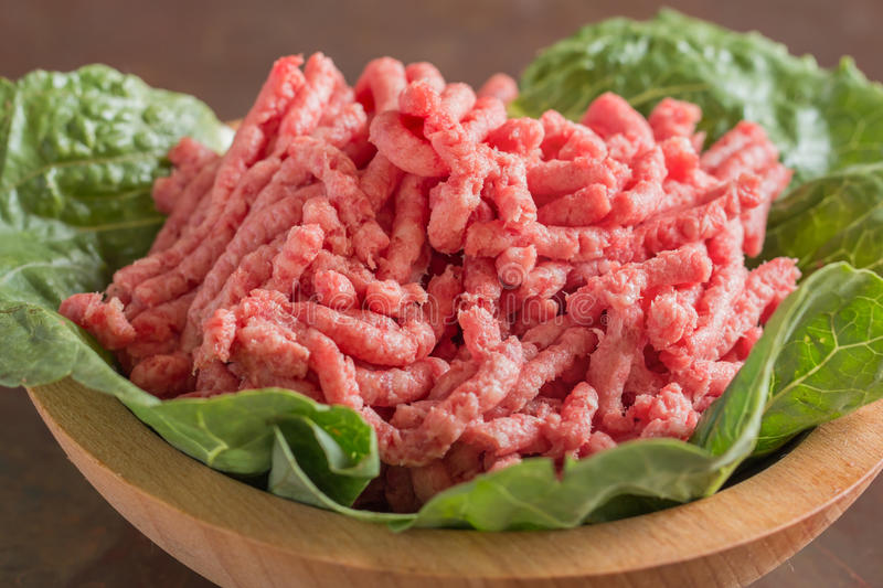 Bowl of ground beef stock photography
