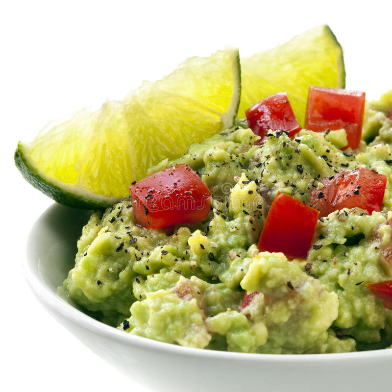 Download Bowl Of Guacamole With Lime Stock Image - Image: 27066671