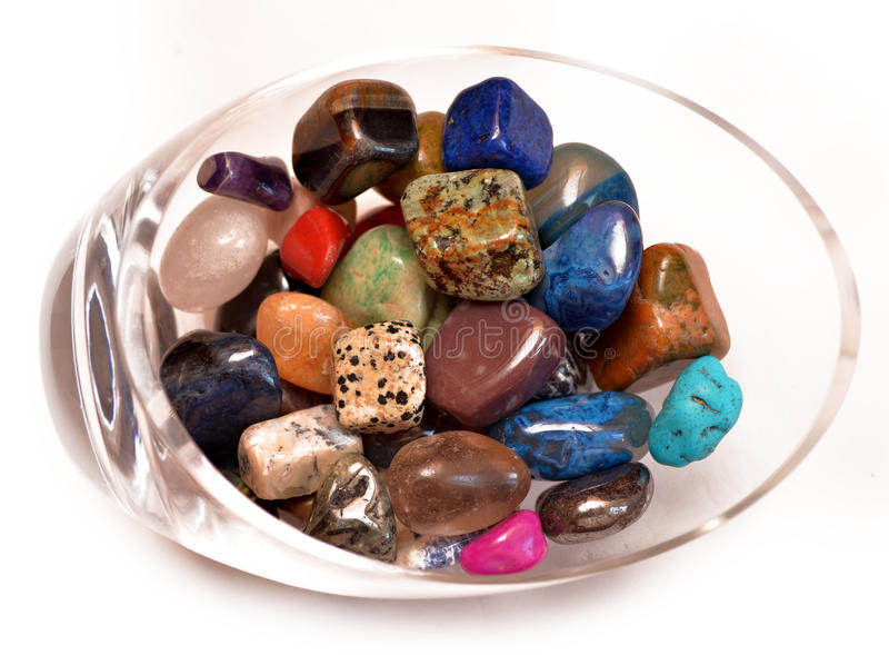 Bowl Healing Crystals Gemstones stock photo