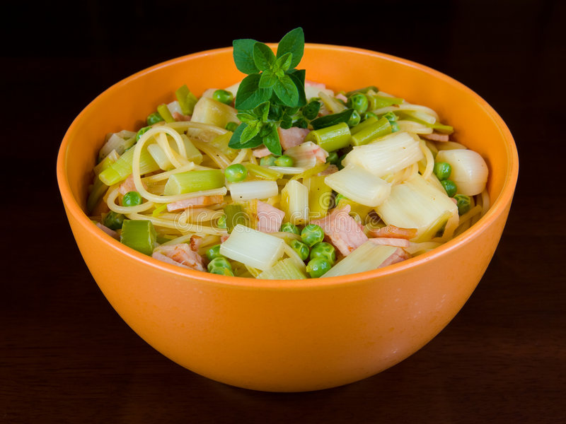 Bowl of healthy pasta stock photography