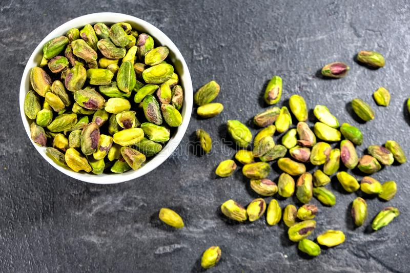 Bowl of Healthy Pistachio Nuts. Looking Down With No People royalty free stock image
