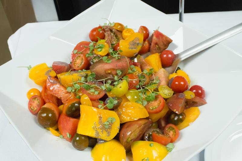 Heirloom tomatoes. A bowl of heirloom tomatoes with micro basil as garnish stock photography
