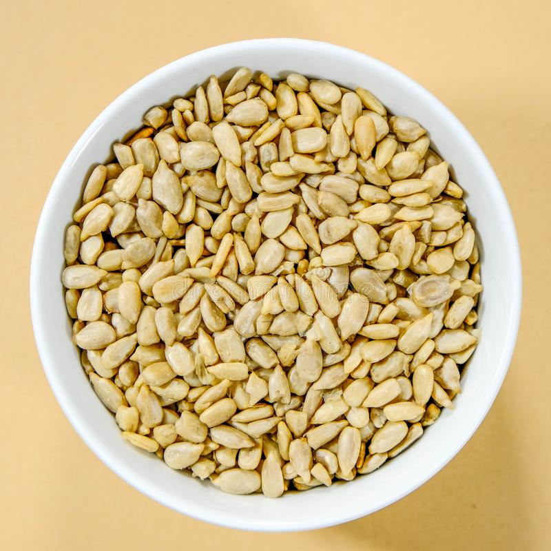 Bowl of High Protein and Vitamin E Sunflower Seeds royalty free stock photo