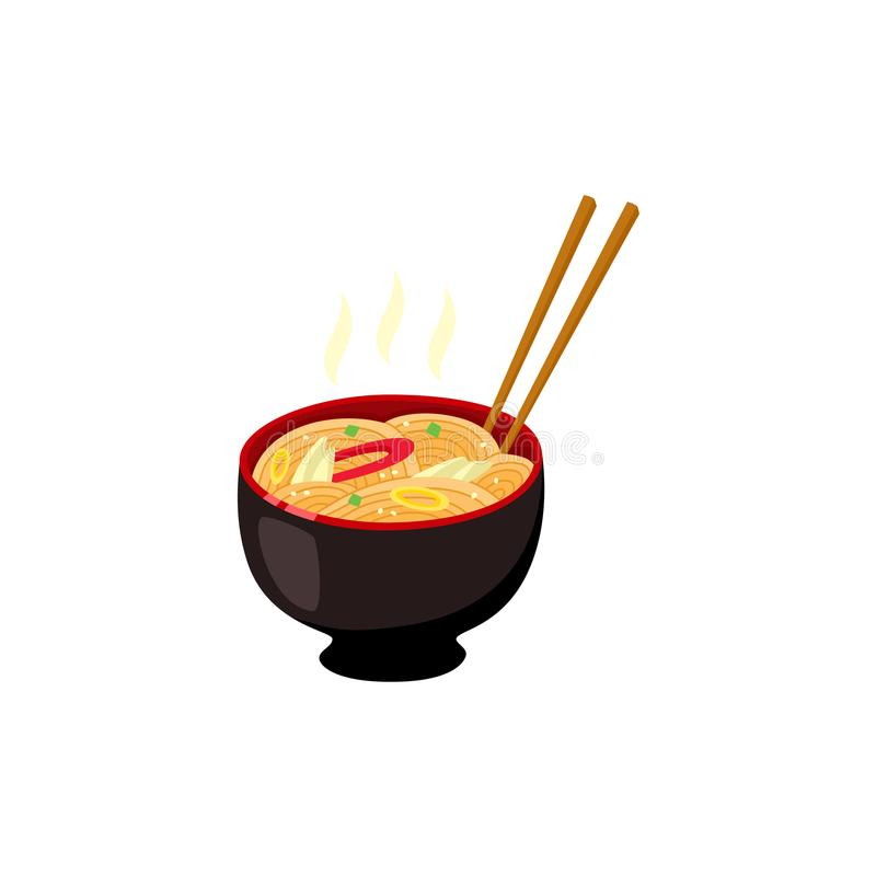 Bowl with hot ready-to-eat ramen noodles with vegetables and chopsticks. royalty free illustration