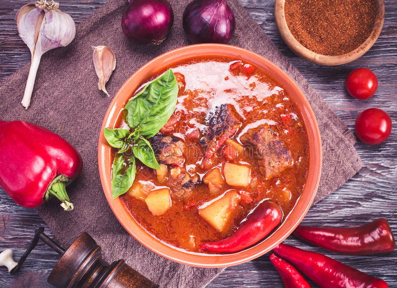 Bowl of hungarian goulash above view royalty free stock photos