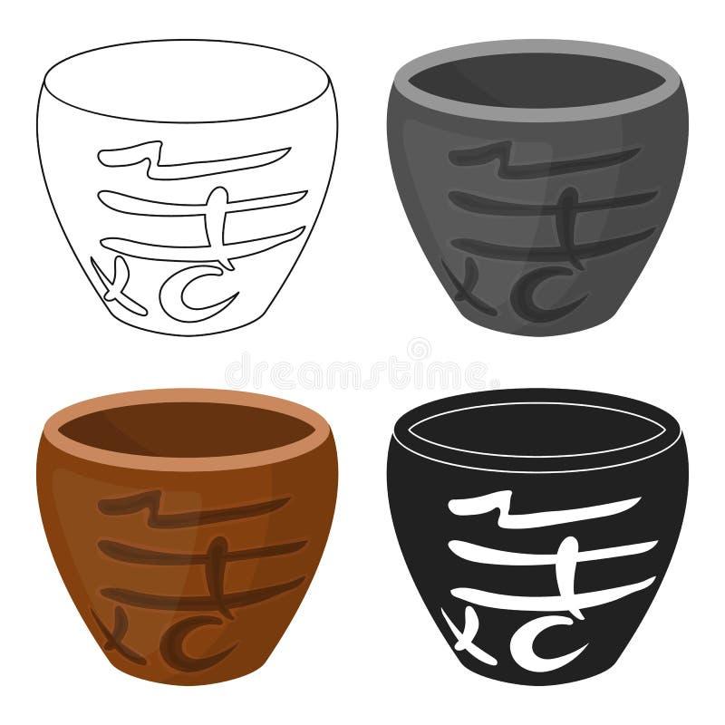 Bowl icon in cartoon style isolated on white background. Sushi symbol stock vector illustration. Bowl icon in cartoon style isolated on white background. Sushi vector illustration
