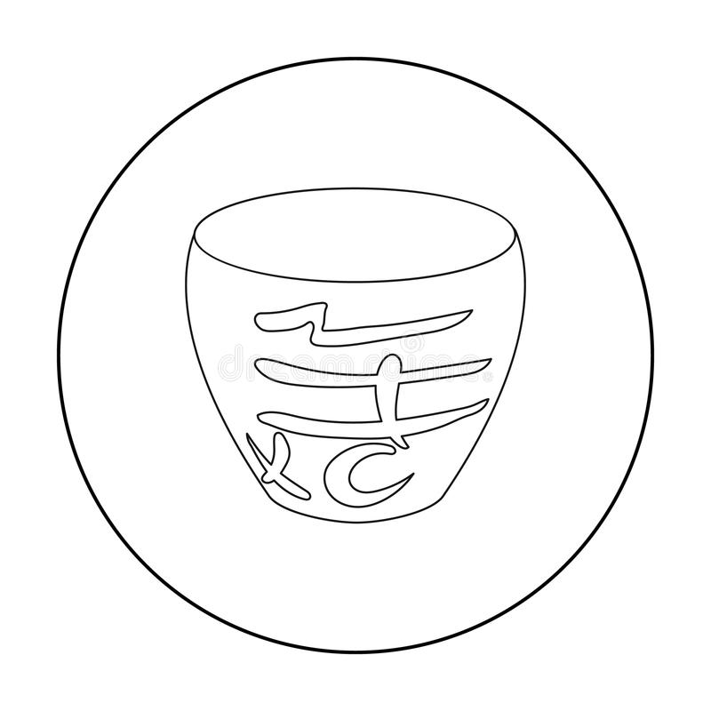 Bowl icon in outline style isolated on white background. Sushi symbol stock vector illustration. Bowl icon in outline style isolated on white background. Sushi vector illustration
