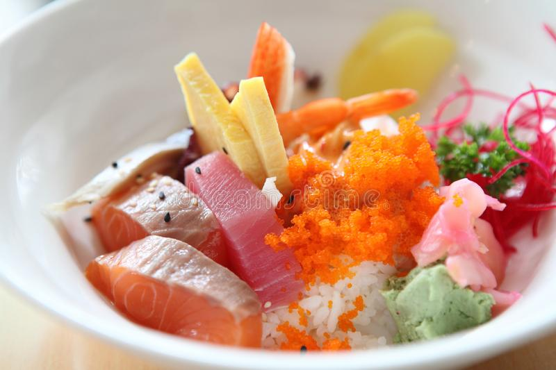 Bowl of Japanese mix sashimi don on rice royalty free stock image