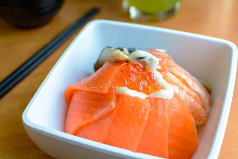 Bowl of Japanese mix sashimi don on rice. Close up of Bowl of Japanese mix sashimi don on rice royalty free stock photography