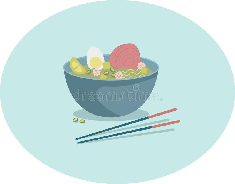 Bowl of Japanese ramen soup vector illustration