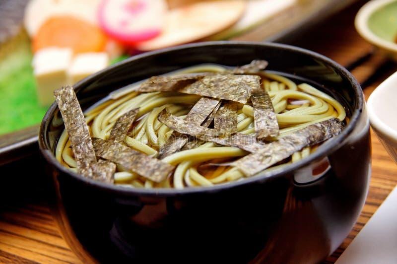 Bowl of Japanese soba stock photos