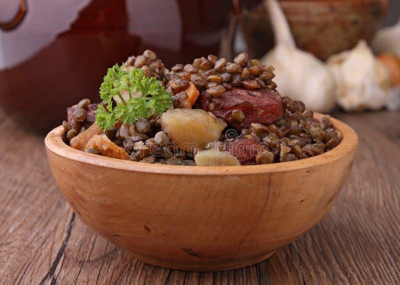 Bowl of lentils stock photo