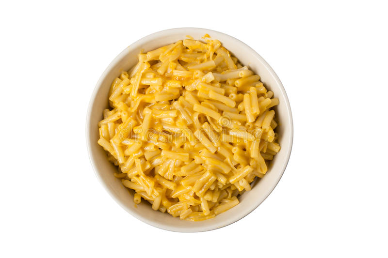 Bowl of Macaroni and Cheese Overhead royalty free stock photos