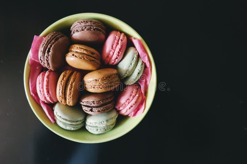 Bowl of macaroons stock photo
