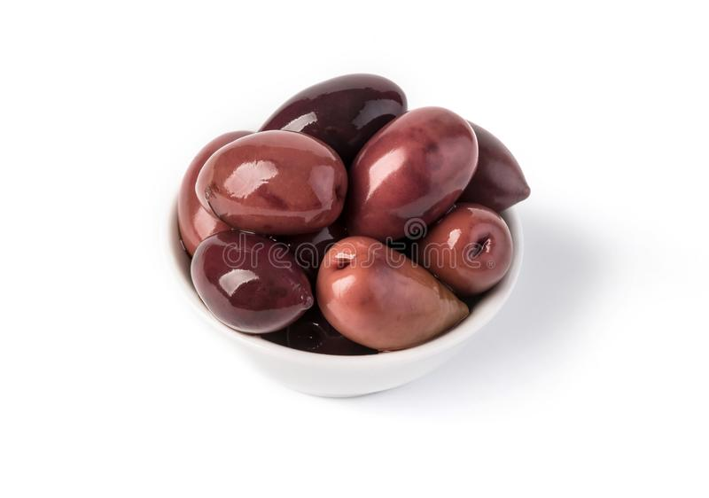 Bowl of olives , isolated on white royalty free stock photo
