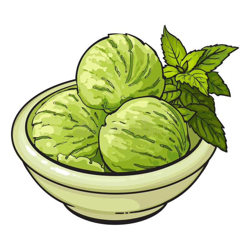 Bowl of matcha green tea ice cream scoops royalty free illustration