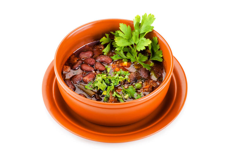 Bowl of mexican chili kidney bean soup with meat royalty free stock image