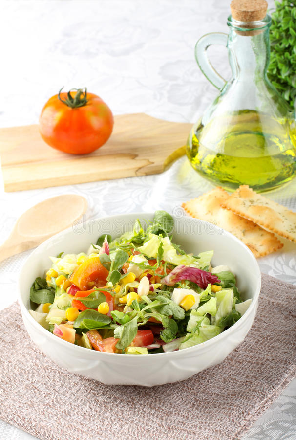 Bowl of mixed salad royalty free stock photos