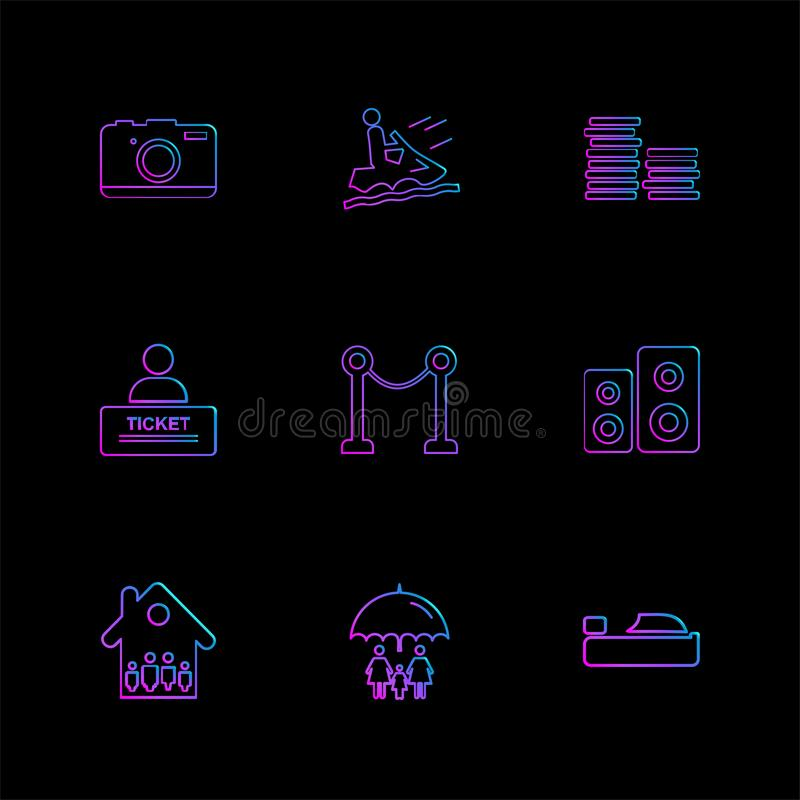 Bowl , money , house , ticket , multimedia , eps icons set vector. Bowl , money , house , ticket , multimedia , icon, vector, design, flat, collection, style vector illustration