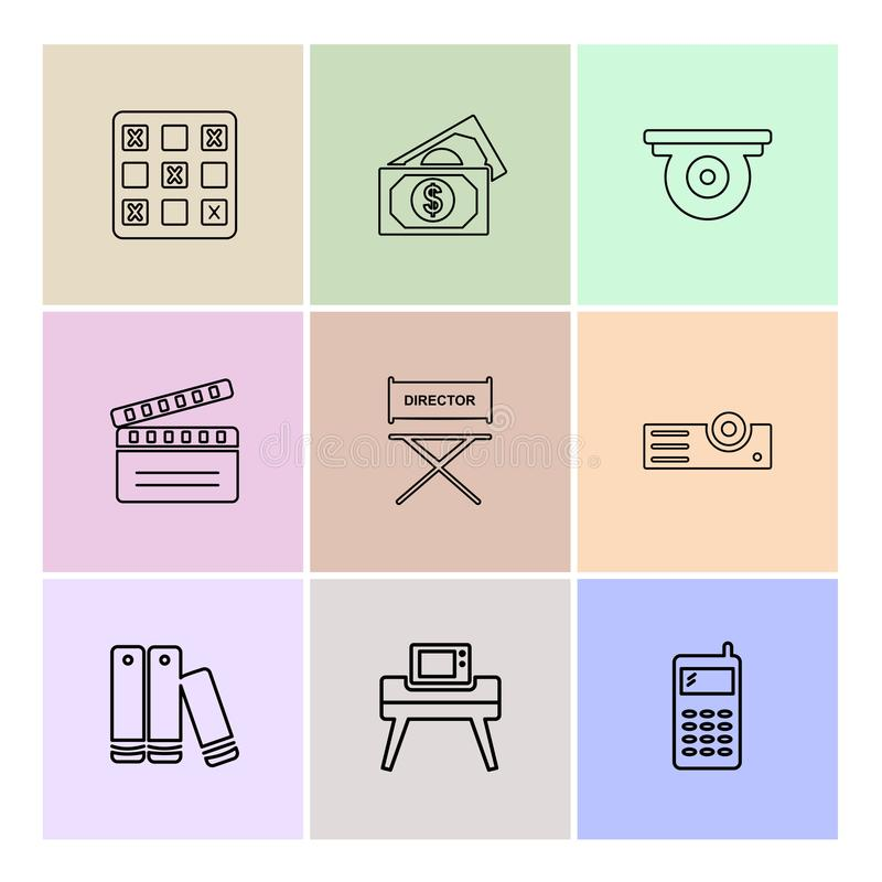 Bowl , money , house , ticket , multimedia , eps icons set vector. Bowl , money , house , ticket , multimedia , icon, vector, design, flat, collection, style stock illustration