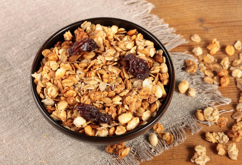 Bowl of muesli. Healthy and tasty breakfast. Bowl of muesli on the table stock images