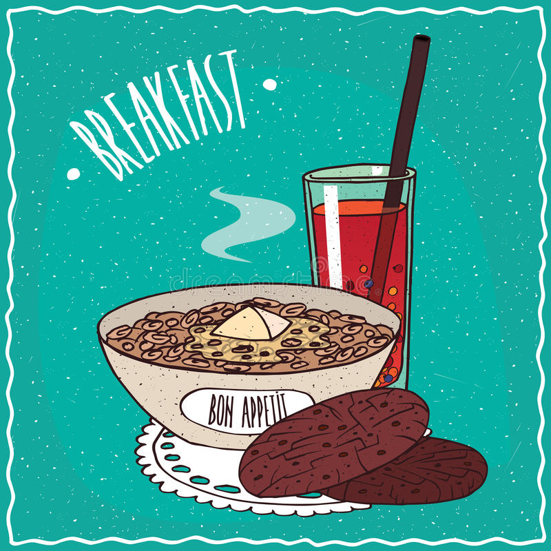 Bowl of muesli with oatmeal cookies and juice stock illustration