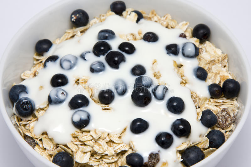 Bowl Of Muesli With Yogurt And Blueberries Royalty Free Stock Photos