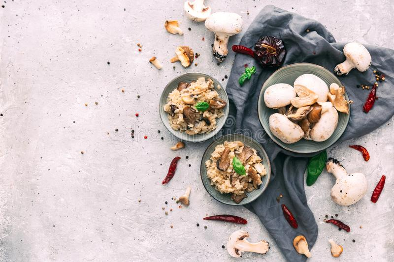 Bowl of Mushroom Risotto garnished with Thyme leaves,. Selective focus stock photo