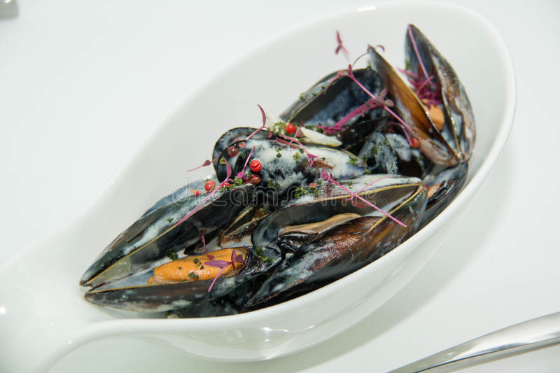 Bowl of mussels with cream sauce stock photo