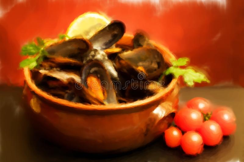 Download Bowl With Mussels Soup - Oil Paint Stock Illustration - Image: 17701133