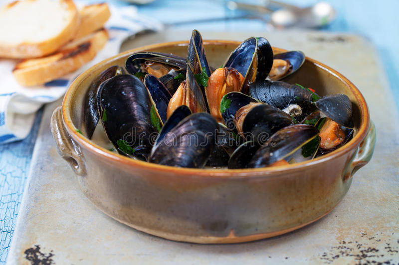 Bowl of mussels stock photo