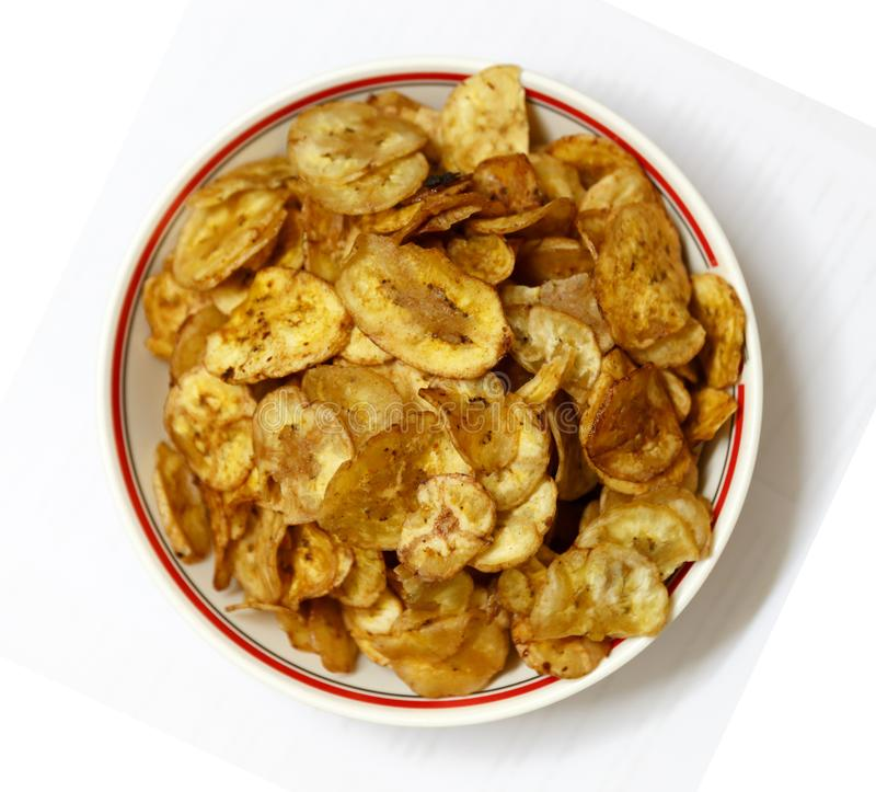 Bowl of Newly Cooked Banana Chips Ready for Serving royalty free stock photo