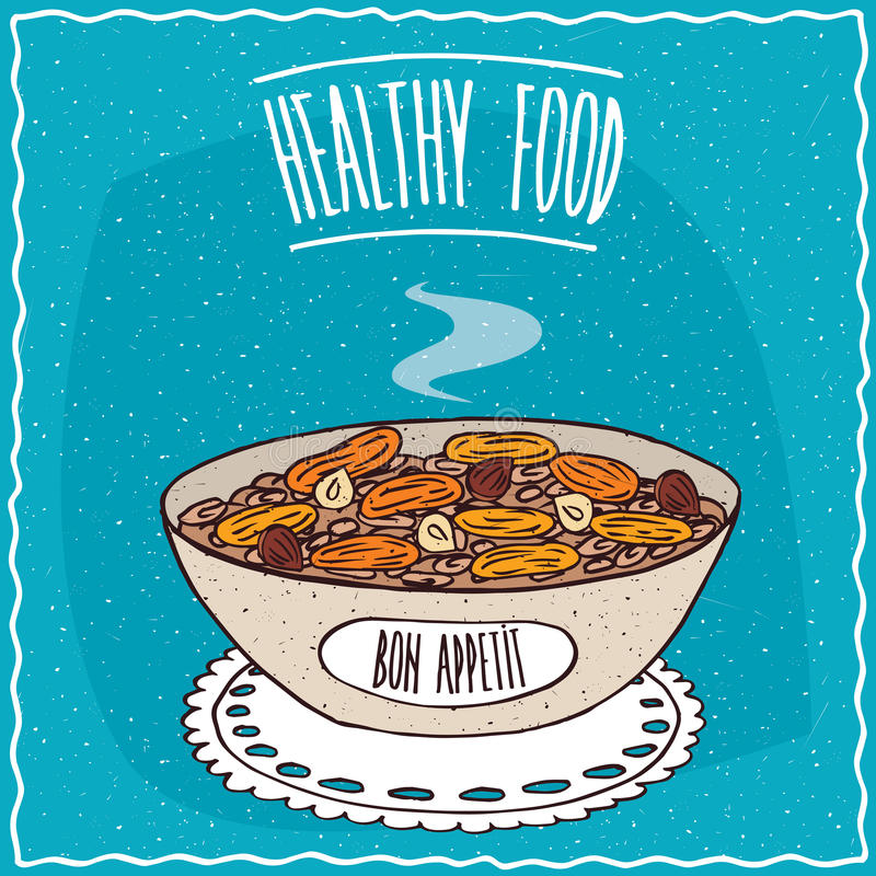 Bowl of oatmeal with dried apricots and hazelnuts. Similar to muesli or granola, lie on lacy napkin. Blue background and lettering Healthy food. Handmade vector illustration