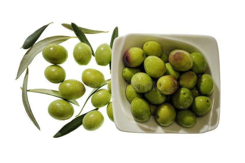 Bowl of olives on white background stock image