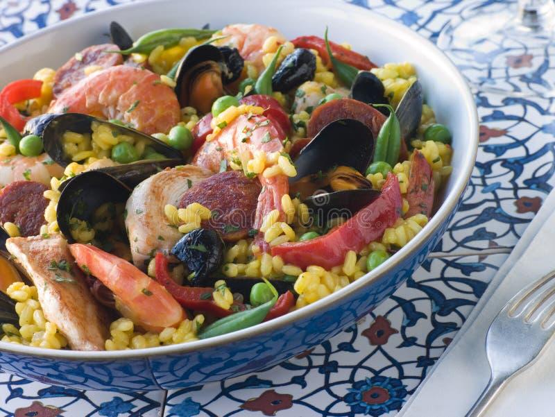 Bowl of Paella royalty free stock photos