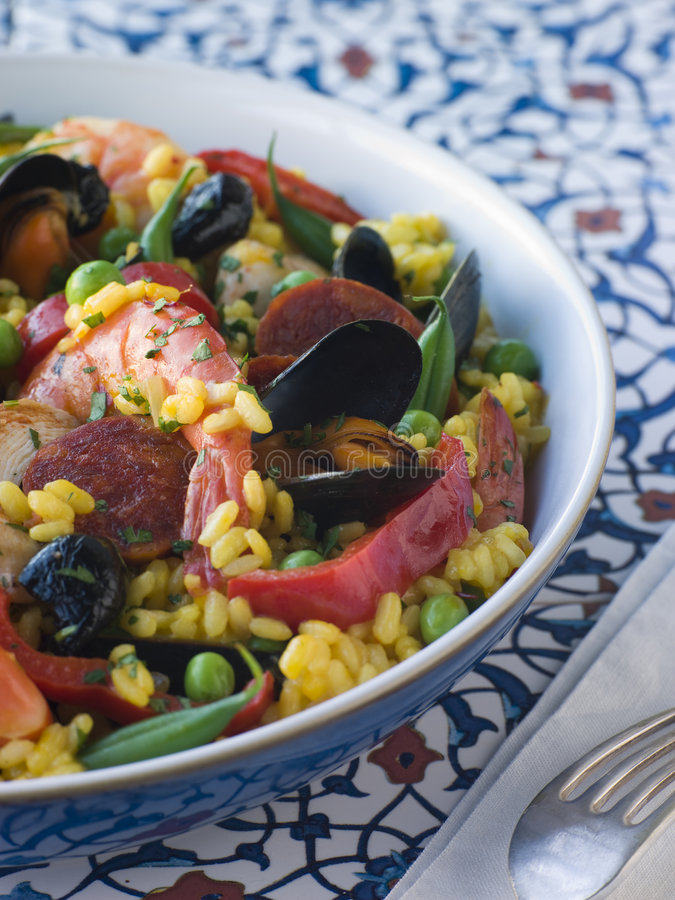 Download Bowl of Paella stock image. Image of cuisine, chicken - 5950797