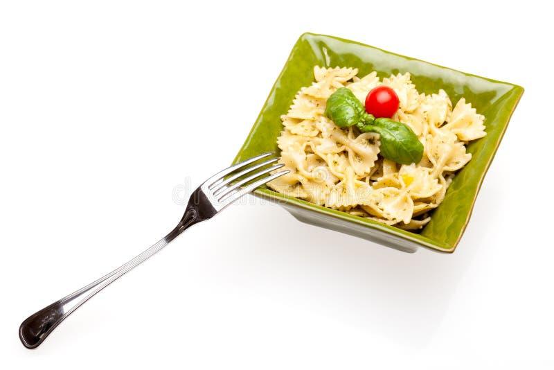 Bowl With Pasta On White stock photo
