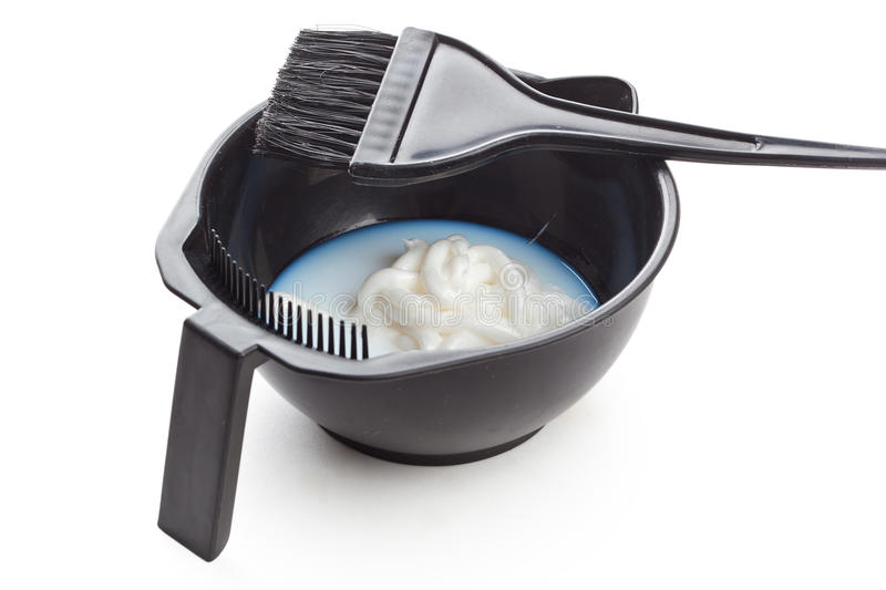 Download Bowl With Peroxide And Brush Stock Image - Image: 26242191